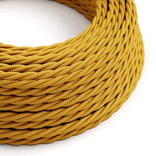 Creative-Cables Textilkabel geflochten, senf mit Seideneffekt, TM25-3 Meter, 2x0.75 - Designer-metall-leitung