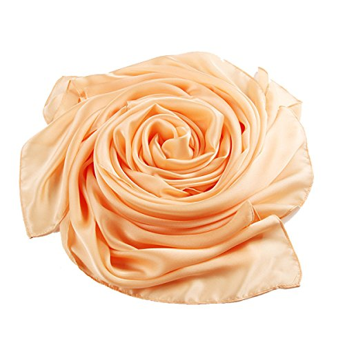 Mode Lady Silk Thin Sun Châle Multi-couleur 2pcs Orange2