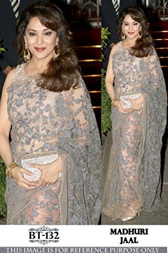 Cloth Velly Women\'s bollywood style as madhuri nylon Net grey color saree
