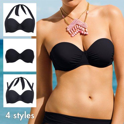 Rosa Faia Damen Multiway Bikinioberteil Bikini-Oberteil Schwarz (Schwarz)