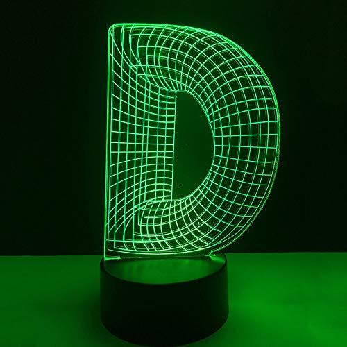7 Cambio de color Alfabeto Letra D Forma Lámpara de Mesa Usb 3D ...
