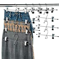 Space Saver Metal Skirt Hangers with Clips - 12-Pack, Multi Stackable Add-On Trouser Hangers, Non Slip Adjustable Vinyl Coated Clips, Heavy-Duty Pant Hanger - for Dry or Wet Clothes, Jean Pants, Slack