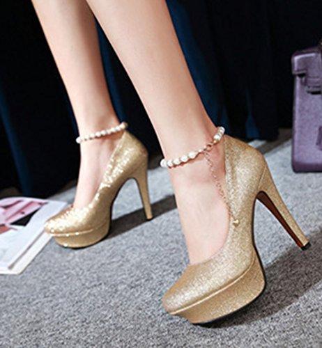 Aisun Damen Sexy Künstliche Perlen Kette Plateau Stiletto Gold 39 EU hLFYtiKiBt