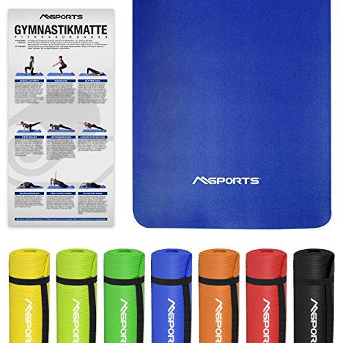 Gymnastikmatte Fitness | inkl. Übungsposter | 190 x 100 x 1,5 cm | Hautfreundlich - Phthalatfrei - Königsblau | sehr weich - extra dick | Yogamatte