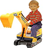 Allkindathings Children\'s Ride On Walker Push Along Excavator 2-in-1 Digger and Hard Hat