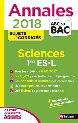 Sciences 1re ES, L : annales 2018