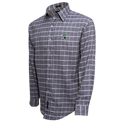 Gebürstete Baumwolle Check Shirt, herren, Brushed Cotton Check Shirt, Grau/Weiß, Medium