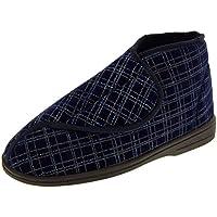 Mens Ortopedico Slipper Boots Chiusura a Velcro
