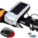 Vinmin Fahrrad Licht Set und Horn Solarbetriebene USB wiederaufladbare Fahrrad Scheinwerfer Rücklicht Kombinationen Warnung Rücklicht LED Lautsprecher