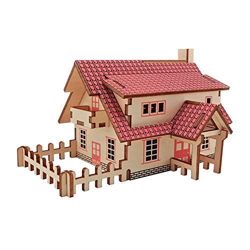 Ruiting 3D Puzzle Holz, Haus Gebäude DIY Montage Spielzeug Kinder Erwachsene 15,5 * 11,2 * 9cm Haus 1 Stück