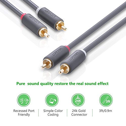 UGREEN-RCA-Cable-2RCA-to-2RCA-Male-Stereo-Audio-Cable-2m-Gold-Plated-for-Home-Theater-HDTV-Gaming-Consoles-Hi-Fi-Systems
