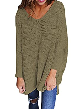 StyleDome Damen Jumper Shirt Dress Herbst Langarm Locker Casual Plus Size Pullover Strick Sweater Sweatshirt Tops