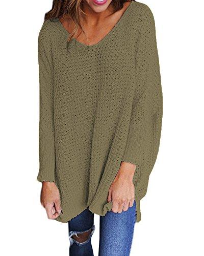 StyleDome Damen Jumper Shirt Dress Herbst Langarm Plus Size Pullover Strick Sweater Sweatshirt Tops Grün 2XL