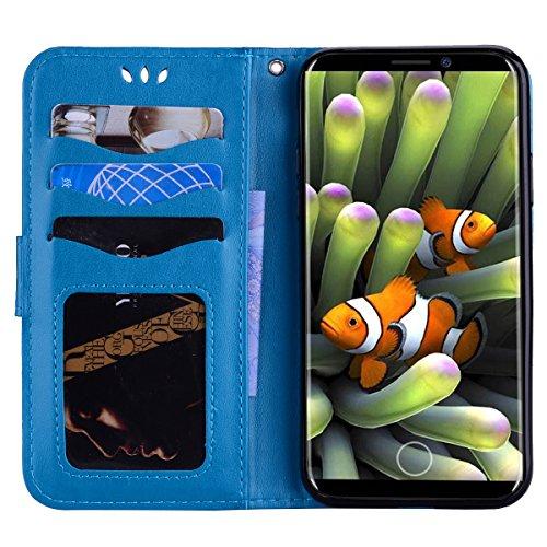 Cover iPhone X Pelle Unicorno, Unicorno Portachiavi Peluche, E-Unicorn Cover Custodia Apple iPhone X Pelle Unicorno Modello Brillantini Glitter Portafoglio Blu PU + TPU Silicone Morbido Bumper Copertu Blu