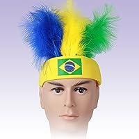 SJB-mz World Cup Bar Football Feather Brasileño Fan Peluca Cap