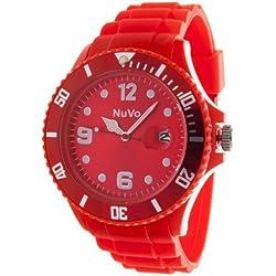 Nuvo - NU13H09 - Unisex Armbanduhr - Quartz - Analog - Rotes Zifferblatt - Rotes Armband aus Silikon - Modisch - Elegant - Stylish