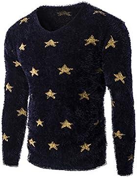 Copertura di Slim maglione uomini casuale round maglione collo stampa, marina, L