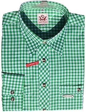 Trachtenhemd Peine | grün-weiß kariert | Langarm Gr. XS-4XL | 100% Baumwolle | Spieth & Wensky