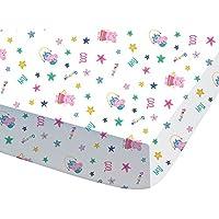 CTI 044728Peppa Pig Recreation sábana bajera para niños algodón, 190x 90cm, color blanco