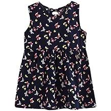 OverDose Bebé Niñas Niñas sin mangas vestido de una pieza Imprimir Bowknot Tutu verano ropa