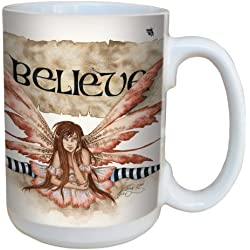 Árbol de-free Quirky Believe de felicitación lm43539 15 oz taza de cerámica con diseño de hada con mango completo