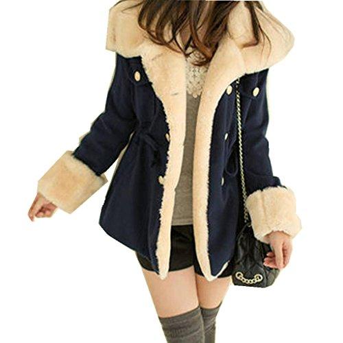 Amlaiworld Winter Mäntel damen warm Plüsch Revers Jacke Zweireiher Wolle pullover Für Mädchen (S, Dunkelblau)