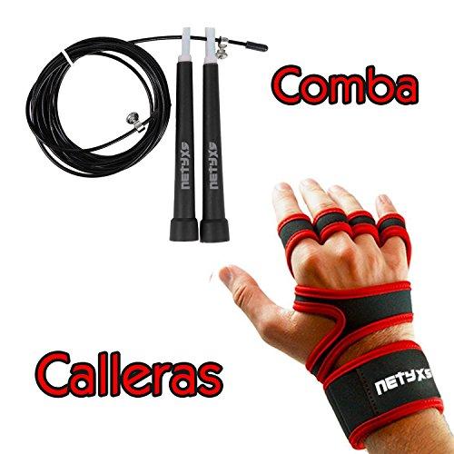 Set Comba de Velocidad + Calleras Crossfit para Entrenamiento Funcional y Deportes de Fuerza con Barra en el Gimnasio, Box o al Aire Libre