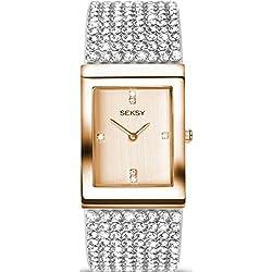 Seksy by Sekonda Krystal Ladies Quartz Watch With Swarovski Set Bracelet And Rose Gold Colour Dial 2376