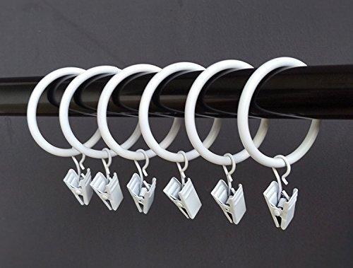 (3,2cm) 3,2cm Glatte Metall Vorhang Ringe mit Clips (weiß) weiß