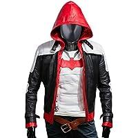F&H Men's Arkham Knight Batman Genuine Leather Hooded Jacket & Vest