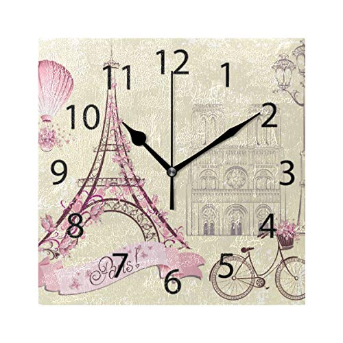 XiangHeFu Reloj de Pared, Cuadrado, 8x8 Pulgadas, silencioso, romántico, París, Decorativo...