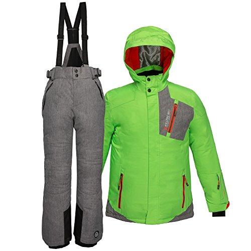 Killtec Kinder Skianzug Größe 128 Schneeanzug 2 tlg. Skijacke + Skihose - Hellgrün Grau - winddicht wasserdicht