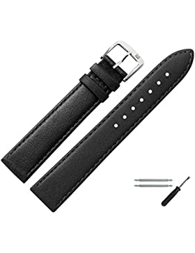 MARBURGER Uhrenarmband 18mm Leder Schwarz - Kalbsleder - Inkl. Zubehör - Ersatzarmband, Schließe Silber - 7591810000120