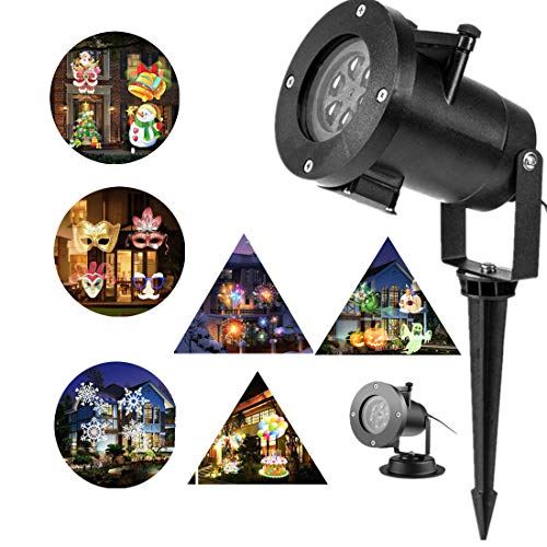Garden Projector Lights Outdoor 16 Patterns Slide Replaceable Colorful LED Rotating Projector Lamp Garden Landscape Projection Led Light for All Kinds of Occasions