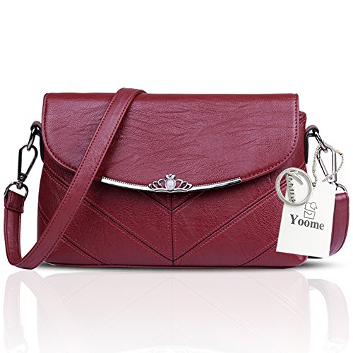 Yoome Frauen große Kapazitäts-Klappe Tasche weiche Umschlag Taschen für Mädchen Retro Taschen für Geldbörse - grau Rot