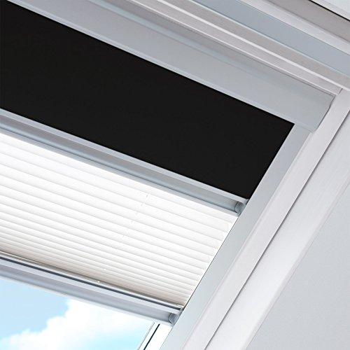 Rolstores - Store jour et nuit pour fenêtre de marque Velux Dimensions MK08 - Occultant noir / Plissé blanc