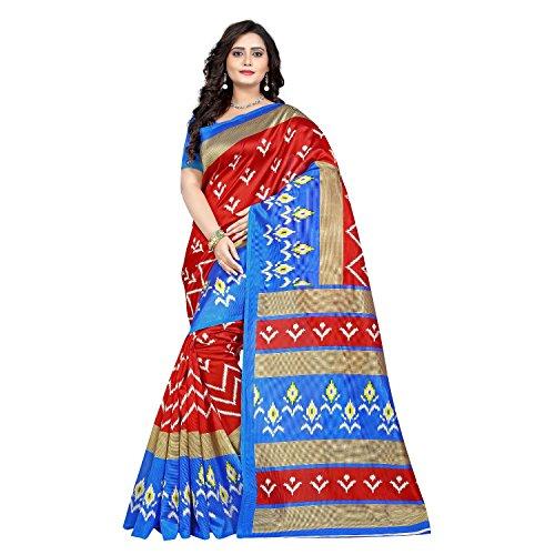 Jaanvi Fashion Women's Art Silk Ikkat Patola Print Saree (Blue)