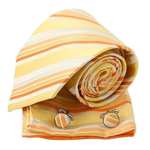 PH1115 Orange Stripes en soie cravate Boutons de manchette Mouchoir ??Set par Epoint