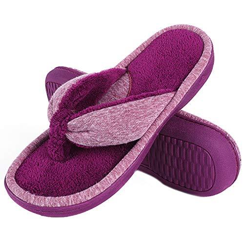 Wishcotton Women's Adjustable Memory Foam House Spa Thong Slippers