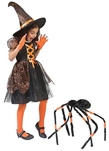 Funny Fashion Costume da Strega Glenda per Bambini per Ragazze - Vestito  Nero e Cappello da Strega con Stelle - Dolce Costume di Halloween (3 Anni) bb509ec65752