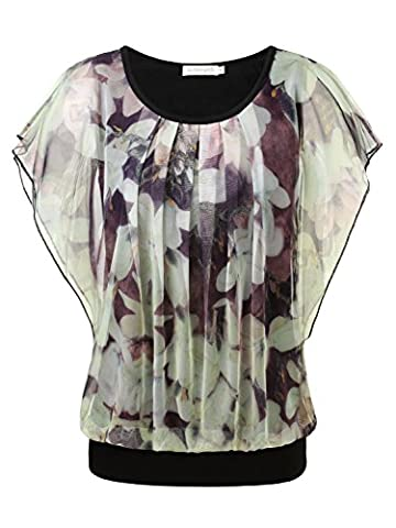 BAISHENGGT Women's Floral Print Ruched Front Round Neck Flounced Sleeve Top Apricot X-Large