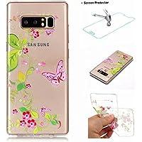 Funda Samsung Galaxy Note 8 Carcasa + Protector Pantalla MISSDU Silicona Transparente Protector TPU Funda Ultra Fina Slim Híbrida Gel Antichoque Case Proteccion, Mariposa de la Flor