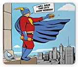 Retro Mouse Pad, Superhero Fat Man with Burger on Building Cartoon Pop Art Comic Book Design Artwork, Standard Size Rectangle Non-Slip Rubber Mousepad, Multicolor 9.8 X 11.8 inch
