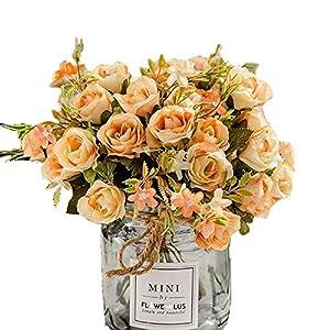 BuleXP 3 Pieza 10 Cabezas Flores Artificiales Rosas Decoración Plásticas Bouquet de Seda Simulación Flores Falsas para El Hogar de Mesa Weeding Party Decoración DIY o Ramo de Novia Champagne