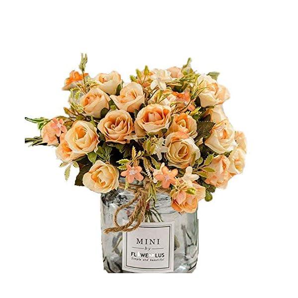 BuleXP 3 Pieza 10 Cabezas Flores Artificiales Rosas Decoración Plásticas Bouquet de Seda Simulación Flores Falsas para…