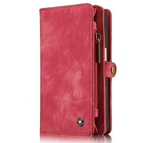 INFLATION iPhone/Samsung Leder Handytasche Case Hülle Geldbörse mit Kartenfach abnehmbar Magnet Handy Schutzhülle für Samsung Galaxy S7 in Rot (Geldbörse Türkei Die)