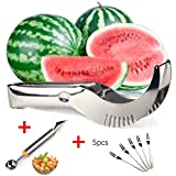 Wassermelone Schneide Cutter Entkerner Server Messer, Melone Baller Scoop Obst Tranchiermesser (2 in 1), Bonus 5 Fruit forks-premium dicker Edelstahl steel-dishwasher Safe-AS SEEN ON TV von attopro