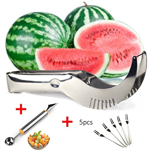 Wassermelone Schneide Cutter Entkerner Server Messer, Melone Baller Scoop Obst Tranchiermesser (2 in 1), Bonus 5 Fruit forks-premium dicker Edelstahl steel-dishwasher Safe-AS SEEN ON TV von - Tv On Messer Seen Küche As