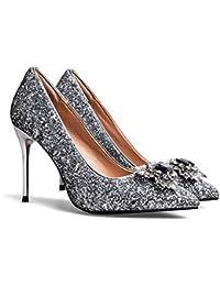 MUYII Frauen Spitzenschuhe Flach Pumps Pailletten Schuhe