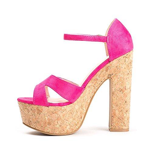 Ideal Shoes Sandales Effet Daim à Plateforme Modeste Fuchsia